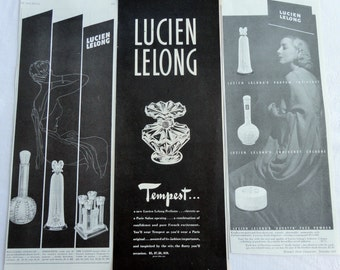 Lucien Lelong Vintage Ads from the 1930s A Trio of Black and White Glam and Elegance