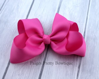 "4.5"" Pink Boutique Hair Bow-Alligator Clip"