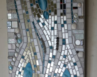 Stained Glass, Mosaic, Abstract, Silver Mirror, Aqua, and White