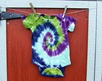 12m Tie Dye Baby Onesie - Tidal Wave Spiral - Ready to Ship