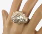 ON SALE Lion Ring, Sterling Silver, Vintage Ring, Diamond Cut, Big Statement, Leo Jungle Animal, Size 10, Large, Unisex, Mens, Rocker Biker,