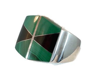 Malachite Ring, Onyx Ring, Sterling Silver, Mens Ring, Mexico, Size 11, Green Stone, Black Stone, Inlay, Heavy Silver, Vintage Ring, Big