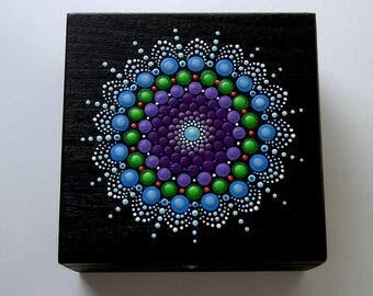 Mandala art-wood jewelry storage stash box-gift under 50-hand painted wooden trinket treasure box-pointillism-ooak 3D dot yoga art-Zen-neon