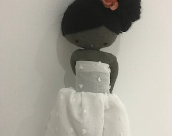 Handmade rag doll, black rag doll - cloth art rag doll long white dress plumeti