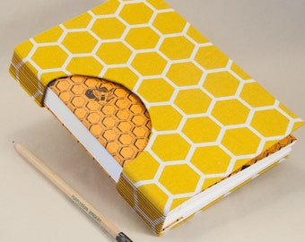 Journal, Notebook, Sketchbook or Guestbook, Unique and Hand-bound with a Honeycomb and Bee Pattern