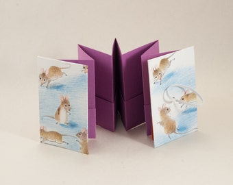 Gift Card, Business Card, Love Note Holder Mini Accordion Book with Sweet Mice