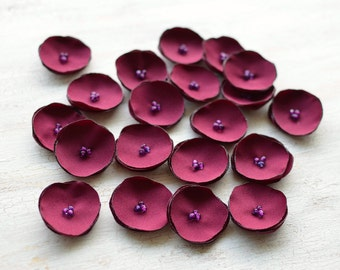 Fabric flower appliques, sew on flowers, wholesale floral embellishments, mini flowers for crafts (20 pcs)- Mini DARK CRANBERRY POPPIES