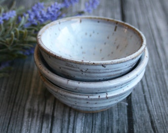 Three Small Rustic Speckled Bowls In Translucent White Glaze Ceramic Bowls Ready to Ship Made in USA