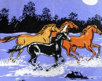 vintage bandana, large hankie, horses, Western, unisex accessory, night scene