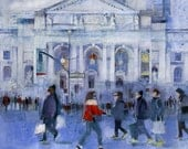 Lady in Red Midtown Library -  CityScape -Sunny Day in  New York City -Horizontal  - Art Print-Giclee  from Original Watercolors