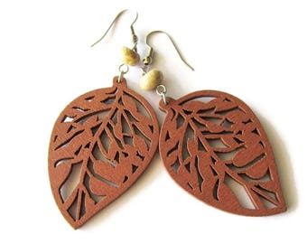 Chestnut Brown Wooden Leaf and Stone Hippie Boho Earrings