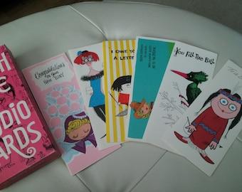 Vintage PUNCH LINE Studio cards Set Of 6 Cards & 5 Envelopes 1970's Sealed In Package