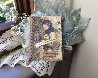 Victorian Christmas Card - Handmade Card for Christmas - Vintage Lady Christmas Card