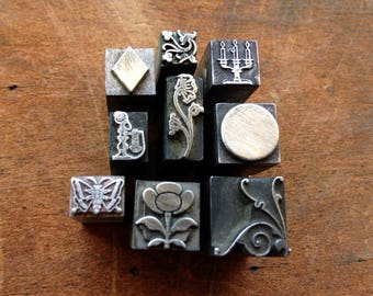 Antique all Metal PRINTERS BLOCKS - Decorative dingbat 9 piece collection