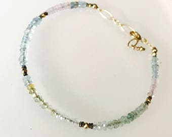 Dainty Ombre Shaded aquamarine morganite bracelet, gold pyrite, oxide sterling silver spacer, and gold filled findings
