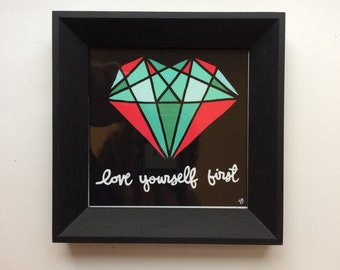 Framed Mini Print - Love Yourself First - Hand Drawn Illustration - MN USA Made Frame - Quote Inspiration Nursery Home Art