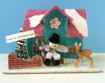 Vintage Inspired Christmas Putz House, Teal and Pink with Snowman and Deer
