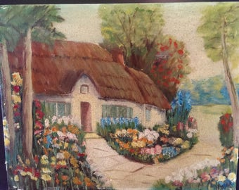 Vintage Original Oil Painting of English Cottage on Canvas signed 1955