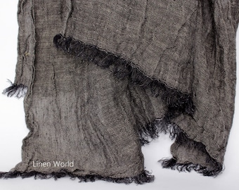 Black Men's Linen Scarf   Black White 100% Linen Flax Scarves   Lithuanian Linen Woman's Scarves and Shawls   Large Natural Scarf Fringes