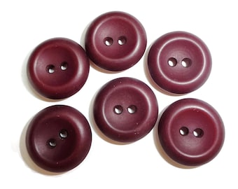 Burgundy Vintage Buttons - 6 Maroon Sew Through 3/4 inch 19mm for Jewelry Supplies Beads Sewing Knitting