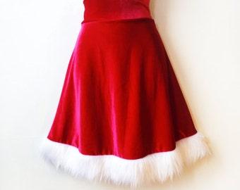Red Velvet Skirt With Fur Trim // Christmas Santa Claus Skater Skirt