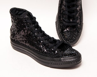 Tiny Sequin - All Black Monochrome Converse Canvas Hi Top Sneakers Shoes with Rhinestoned Toes
