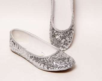 Sequin - Starlight Tiny Sequins Sterling Silver Ballet Flat Slippers Dress Casual Shoes