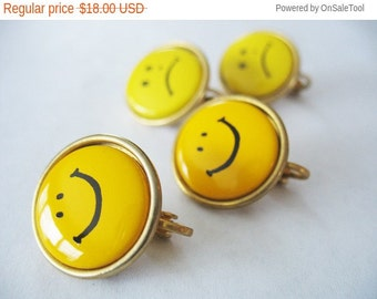 Holiday Sale Happy Face Sad Face Earrings Yellow Clip On Goldtone