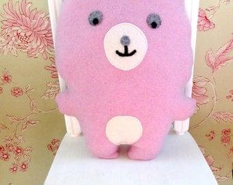 Teddy Bear Soft Toy - Bear Stuffed Toy - Gender Reveal - Pink Bear - Girls Nursery Decor - Pink Teddy Bear - Pink Cashmere Bear.