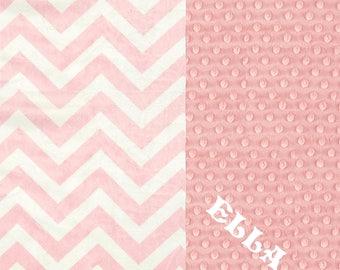 Crib Blanket // Pink Chevron Minky Baby Blanket, Personalized Baby Blanket // Pink Chevron Baby Blanket // Name Blanket / Crib Size