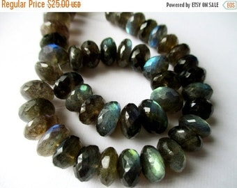 New Year SALE Large Labradorite faceted roundelle- 8-10mm- 5 inch