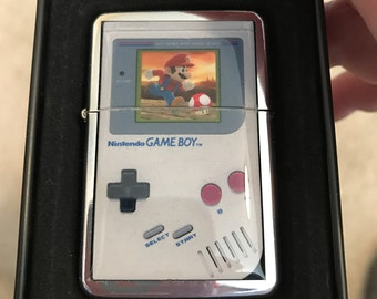 Vintage Game Boy with Mario and Mushroom Refillable Lighter