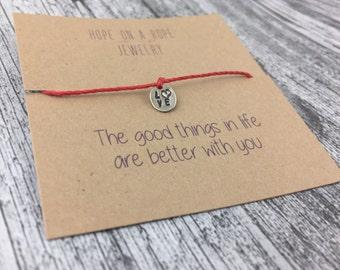 Love Bracelet - Sterling Silver Love Bracelet - Cord Bracelet - Hand Stamped Bracelet - String Bracelet - Valentine's Day Gift -Gift for Her