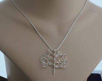 Sterling silver tree of life necklace pendant silver tree branch nature lover gift nature botanical jewelry unusual artisan contemporary