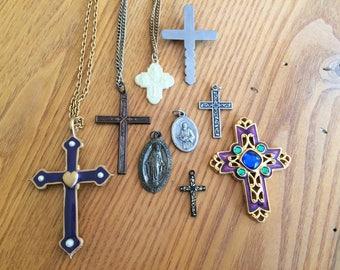 Vintage Lot Religious Jewelry Cross, Pendants, Brooch
