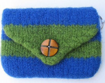 Purse Petite Blue and Green Wool Buttoned Hand Knitted Felted