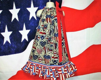 SALE Girls Dress 6/7 4th of July Red Blue Beige Hearts Patriotic Dress, Pillowcase Dress, Pillow Case Dress, Sundress, Boutique Dress