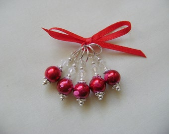 Poppy Red Art Glass Stitch Markers for Knitting or Crochet