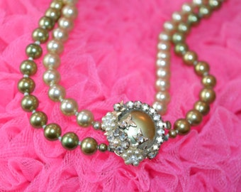 VINTAGE CLUSTER NECKLACE mid century Haskell style necklace with pearls and rhinestones, fabulous!!!