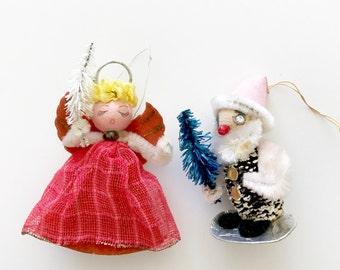 Vintage Spun Cotton Angel and Elf Made in Japan Bottle Brush Tree Pinecone