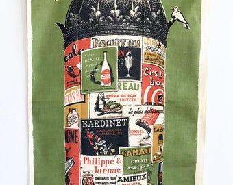 Vintage Kitchen Towel Paris Kiosk Poster French Liquors Wall Hanging Textile Cola Chocolate