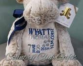 personalized baby gift, stuffed plush, Classic collection Moose kids personalized stuffed animal keepsake, baby gift, Embroider Buddy
