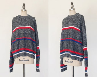 Vintage 1980s Slouchy Gray Striped Sweater - S/M