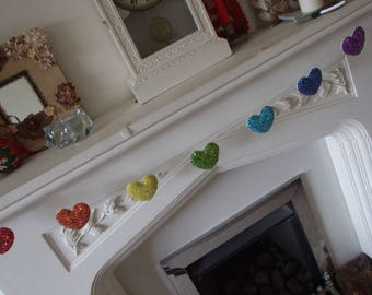 Garland of Sequin Hearts in Rainbow Colours