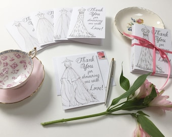 Bridal Shower Thank You Cards- SET OF 10