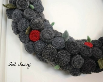 Wreath - Recycled Wool Sweaters - Dark Ombre - by FeltSassy