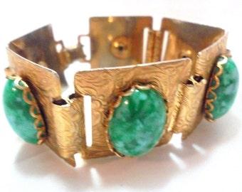 Vintage Wide Green Cabochon Link Bracelet