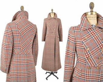 60s houndstooth wool duster coat / mod military style full length coat  / 1960s plaid coat .. xxs-xs