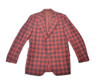 vintage mens 1960s red and green plaid sport coat / 60s plaid wool 3 button jacket