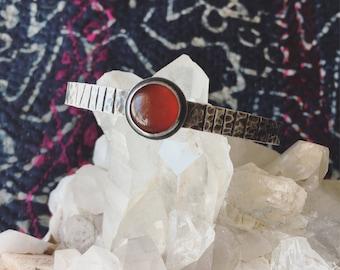 Carnelian and Sterling Silver Cuff Bracelet